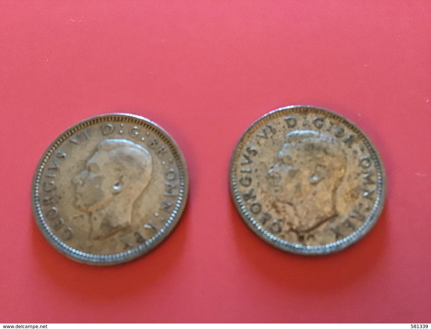 GRAN BRETAGNA  - 1939 E 1945 - 2  Monete Da 6 PENCE - Giorgio V - 1902-1971 : Monete Post-Vittoriane