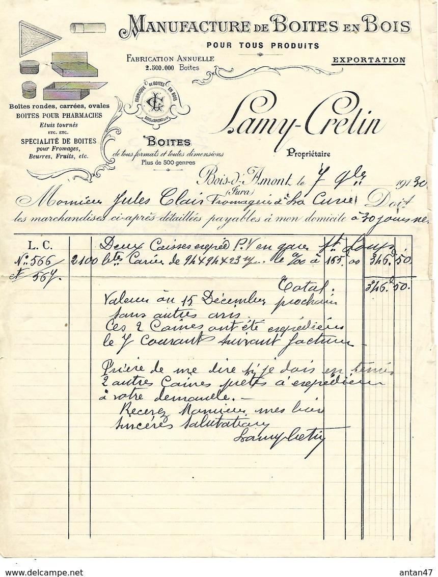 Facture 1930 / 39 BOIS D'AMONT / LAMY-CRETIN / Manufacture Boîtes En Bois /Boîtes Pharmacies, Fromages,beurres,fruits, - 1900 – 1949