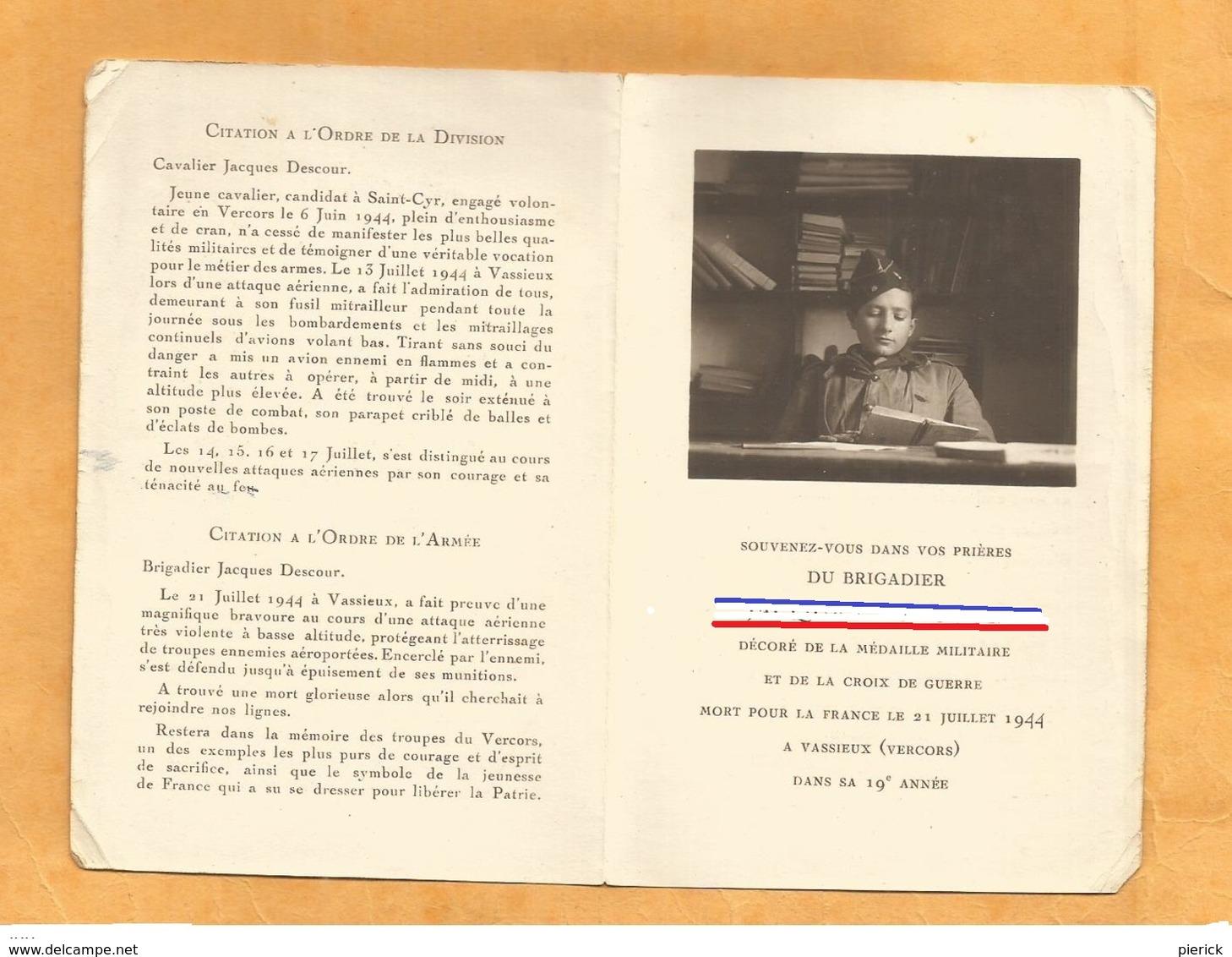 FAIRE PART AVIS  DECES MILITAIRE  BRIGADIER JUILLET 1944 VASSIEUX VERCORS  WW2 - Documents