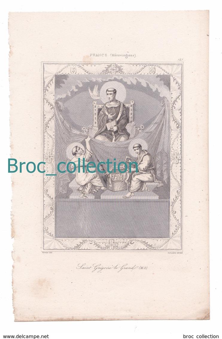 Saint Grégoire Le Grand, France, Mérovingiens, Gravure D'Augustin François Lemaître, Vernier, N° 147 - Images Religieuses