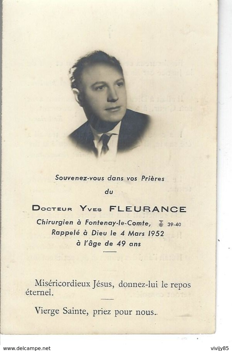 """85 - FONTENAY LE COMTE - T.B. Photo """" Docteur Yves Fleurance , Chirurgien """" Décédé Le 04 Mars 1952 - Obituary Notices"""
