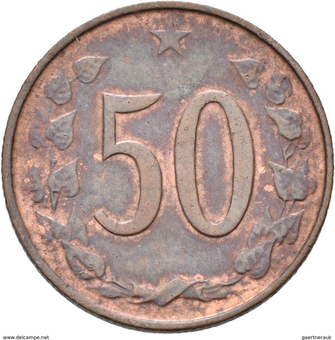 Tschechoslowakei: Lot 2 Münzen, Vatianten: 1) 10 Heller 1963 Mit Punkten, KM# 49.2, Novotny 62, Sehr - Tschechoslowakei