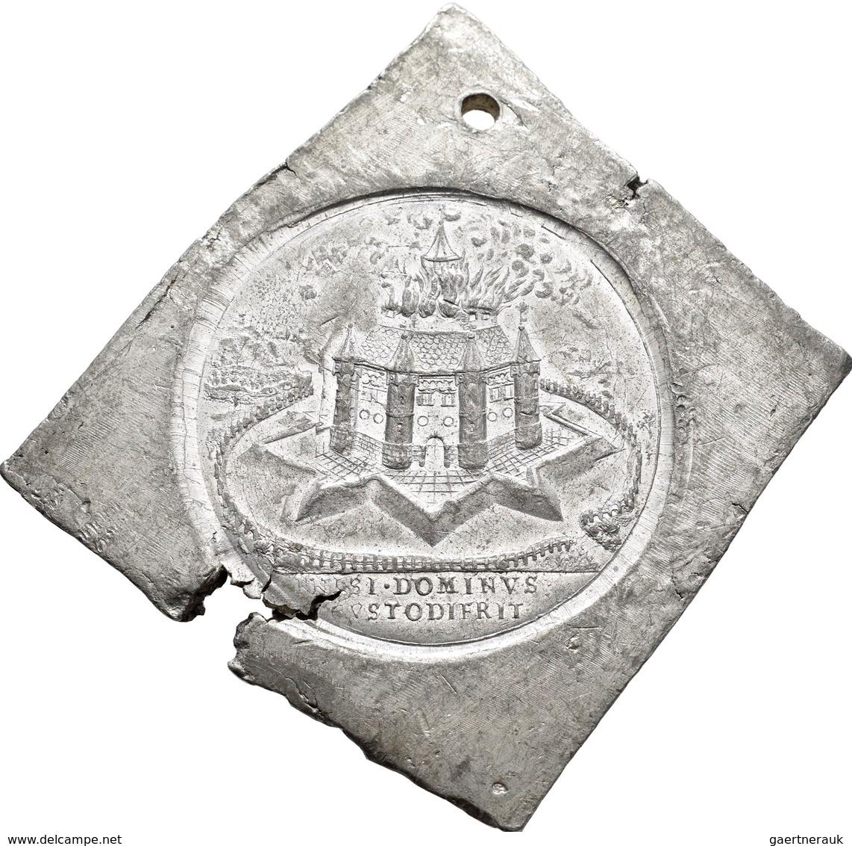 Medaillen Deutschland: Hamburg: Klippenförmige Zinnmedaille O.J.(1906), Auf Den Brand Der St.Michael - Unclassified