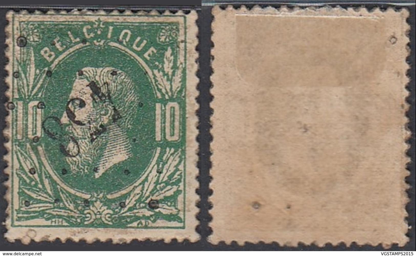 """Belgique - COB 30 Oblitération LP """"438"""" Nimy (DD) DC3263 - 1869-1883 Leopold II"""