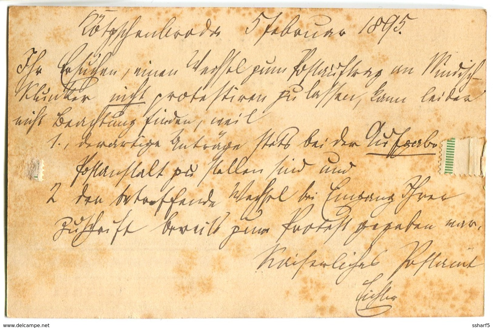 Siegelmarke Blau KAISERL. DEUTSCHES POSTAMT Auf Postkarte 1895 Stempel Kötzschenbroda Vignette - Briefe U. Dokumente