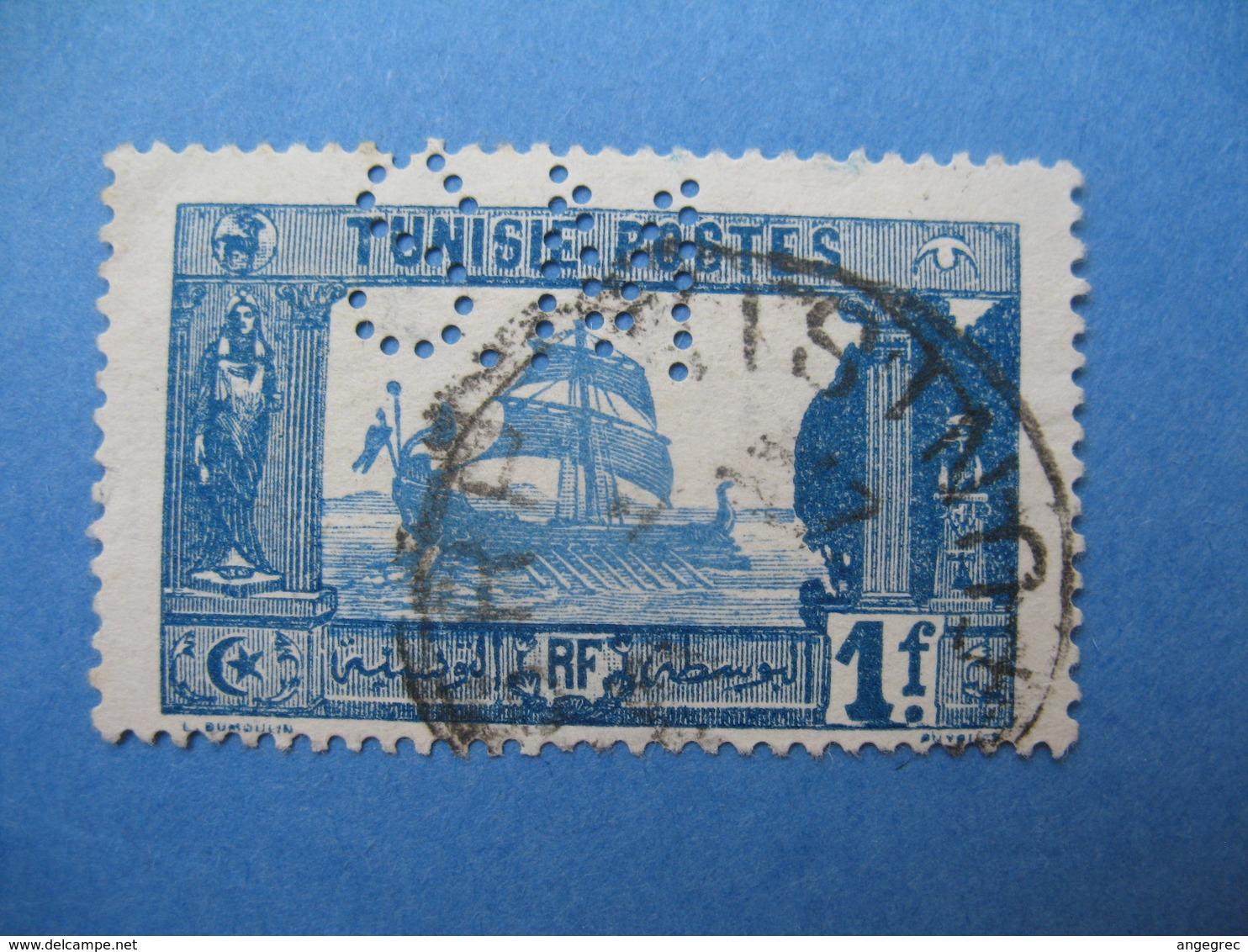 Perforé  Perfin   Tunisie ,   Perforation :   SM 19    à Voir - Tunisie (1888-1955)
