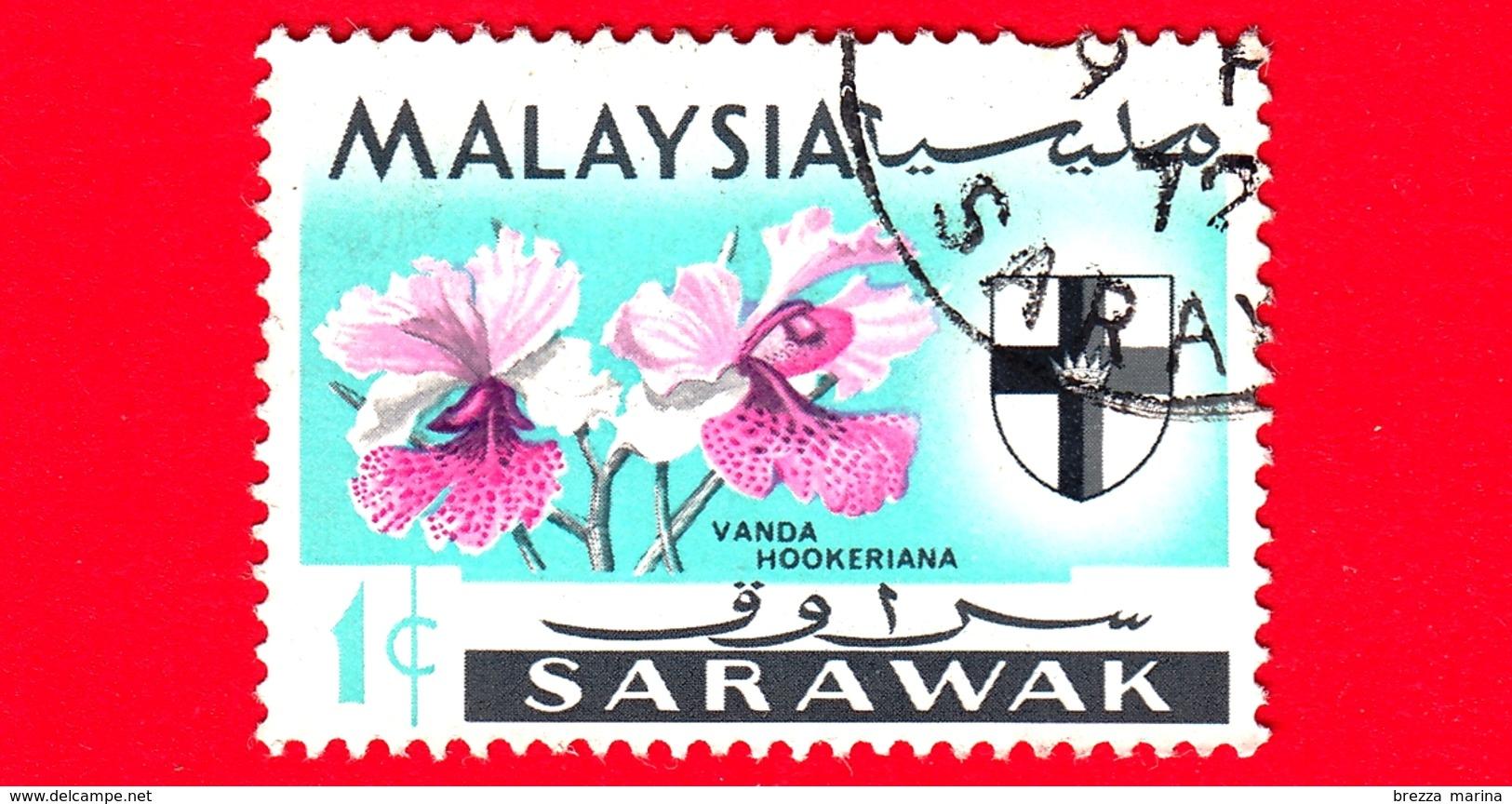 MALESIA - MALAYSIA - Usato - SARAVAK - 1965 - Fiori - Orchidee - Vanda Hookeriana - Stemmi Araldici - 1 - Malesia (1964-...)