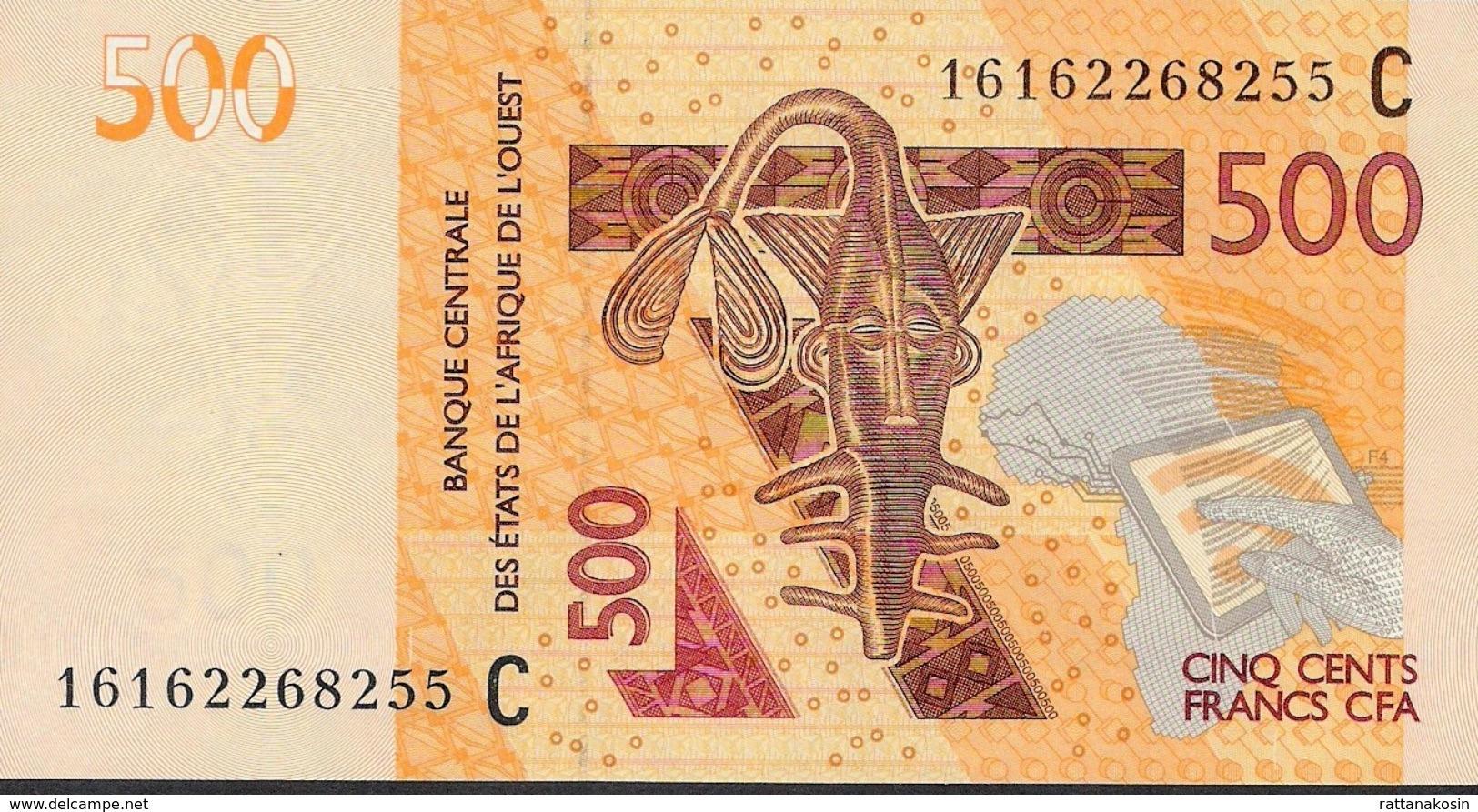 W.A.S. BURKINA FASO LETTER C P619Ce 500 FRANCS (20)16 2016 UNC. - Burkina Faso