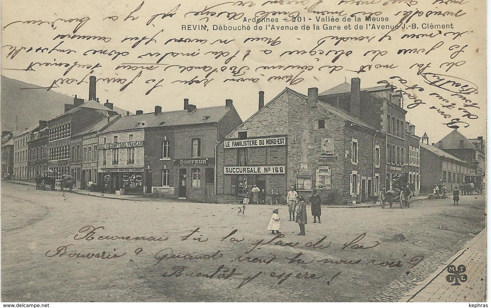 REVIN : Débouché De L'avenue De La Gare Et De L'avenue J.-B. Clément - RARE CPA - Cachet De La Poste 1907 - Revin