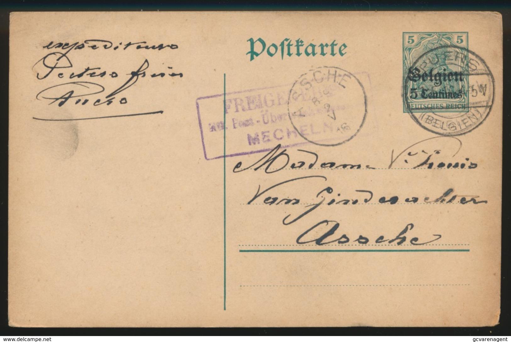 1916  PEETERS FRERES       DUITSCHE CONTROLESTEMPEL NAAR ASSE   2 SCANS - Asse