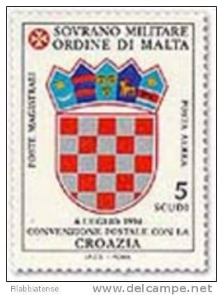 1995 - Sovrano Militare Ordine Di Malta PA 51 Stemma Della Croazia - Francobolli