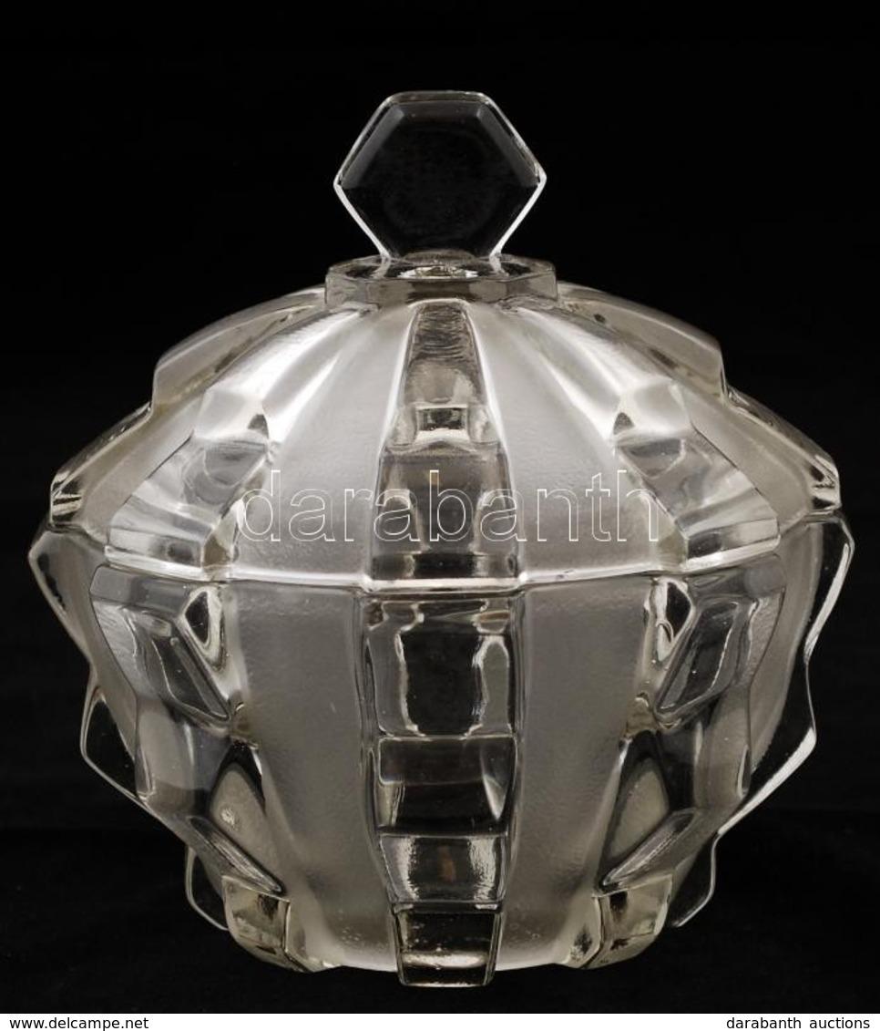 Csehszlovák Art Deco Bonbonier, Maratott, Apró Csorbákkal, Jelzett, D: 14 Cm, M: 14 Cm - Glass & Crystal