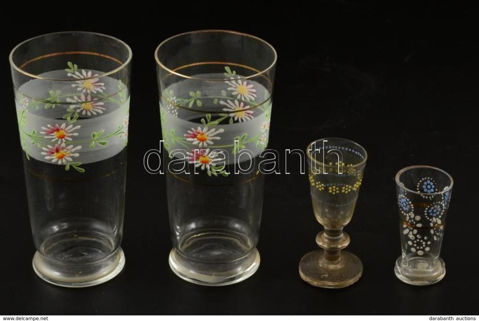 Régi Kézzel Festett Vizes Pohár ( 2 Db), Kupicás (2 Db), Egyiken Nagyon Apró Csorba, 6-13,5 Cm, összesen:4 Db - Glass & Crystal
