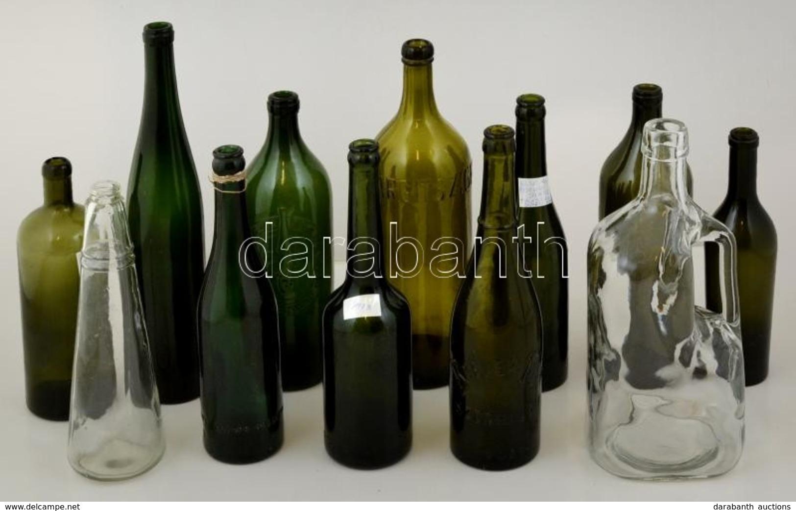 12 Db Régi üveg Palack, Jó állapotban, Főleg Dreher Sörös Palackok, M:17-29 Cm - Glass & Crystal