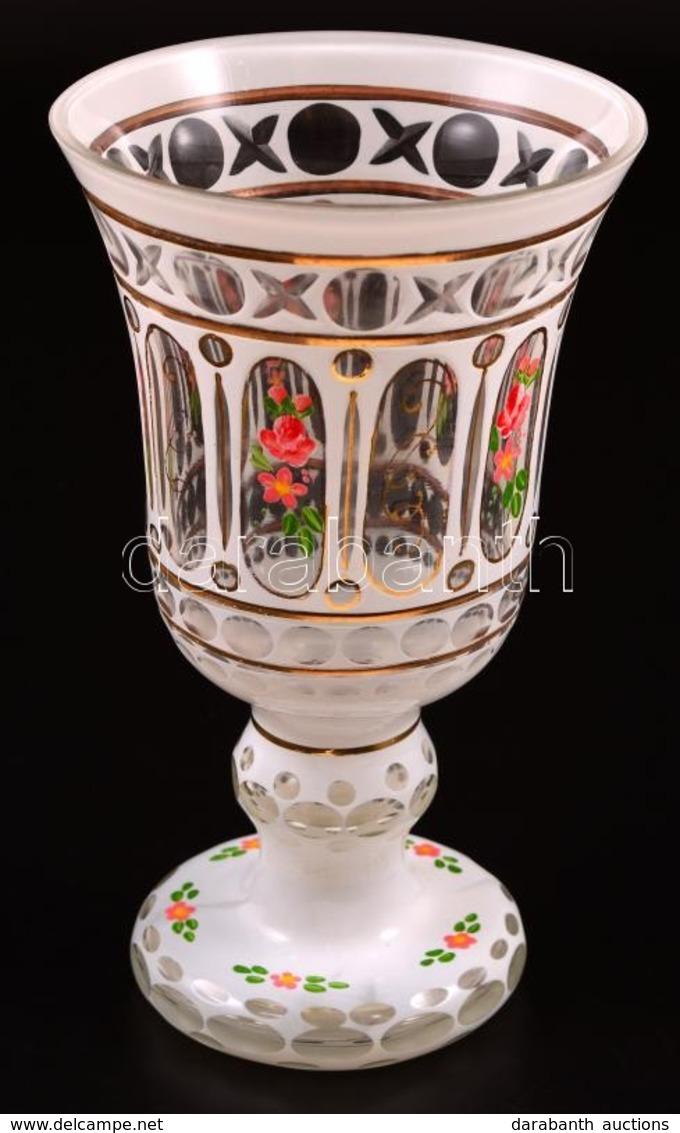 Virág Mintás Kehely, Több Rétegű, Kézzel Festett, Apró Karcolásokkal, M: 18 Cm - Glass & Crystal