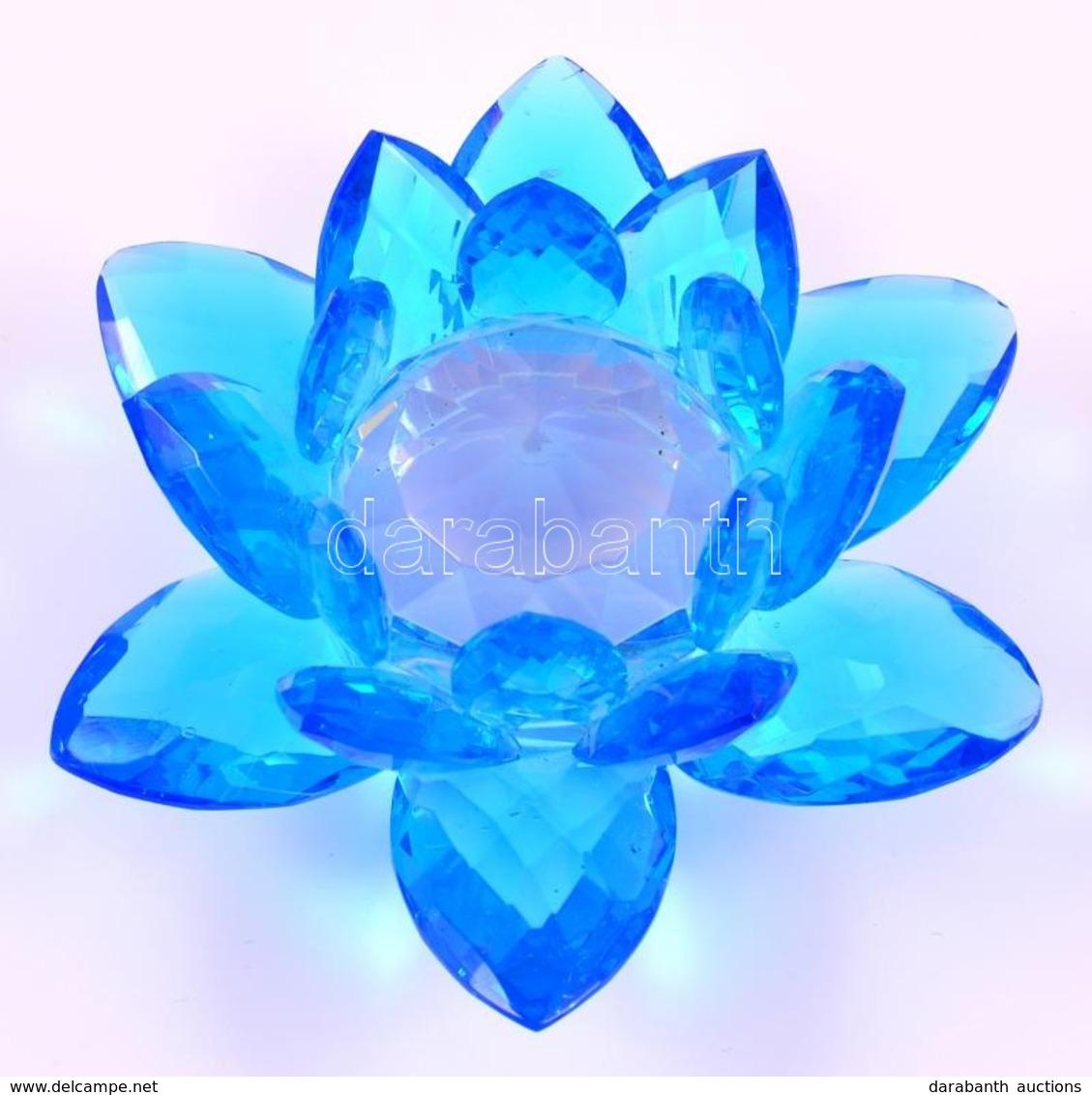 Csiszolt Kristály Tavirózsa, Jelzés Nélkül, Apró Esztétikai Hibával, M:5,5, D:13 Cm - Glass & Crystal