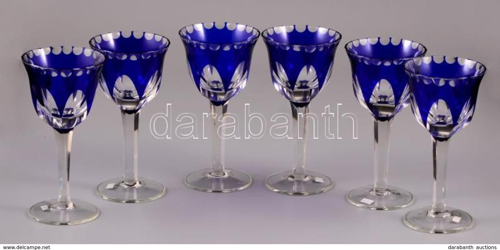 Csiszolt Kristály Boros Poharak ( 6db), Jelzés Nélkül, Több Rétegű, Kettő Poháron Apró Csorba és Hajszálrepedés, M: 16,5 - Glass & Crystal