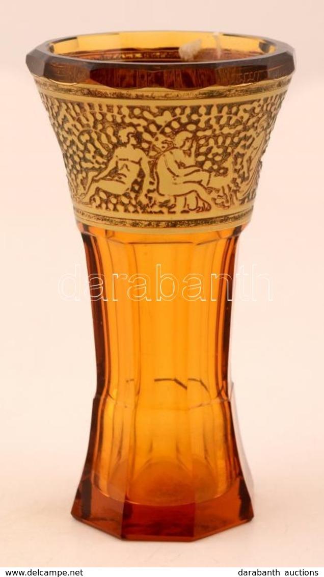 Moser Díszpohár, Több Rétegű, Formába öntött, Apró Csorbával, Jelzés Nélkül,  M:14 Cm - Glass & Crystal