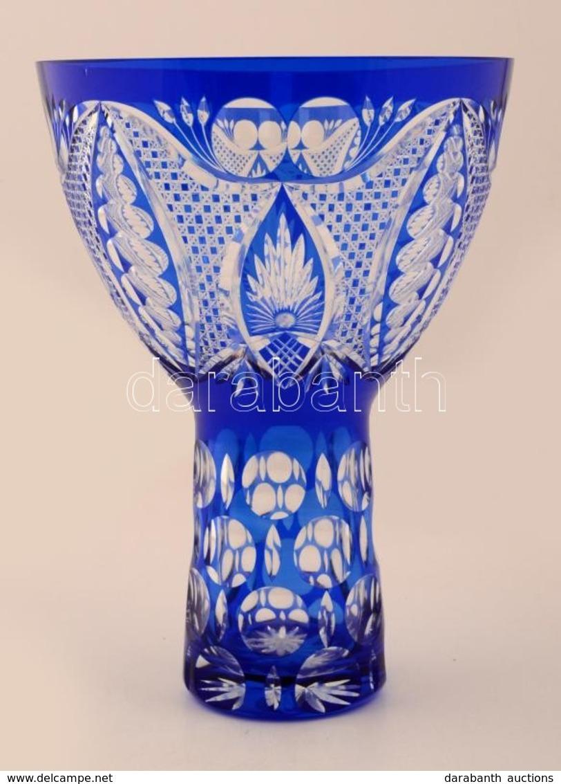 Többrétegű Kék Kristály Váza, Hámozott, Metszett, Apró Gyári Hibával, M: 28 Cm, D: 20 Cm - Glass & Crystal