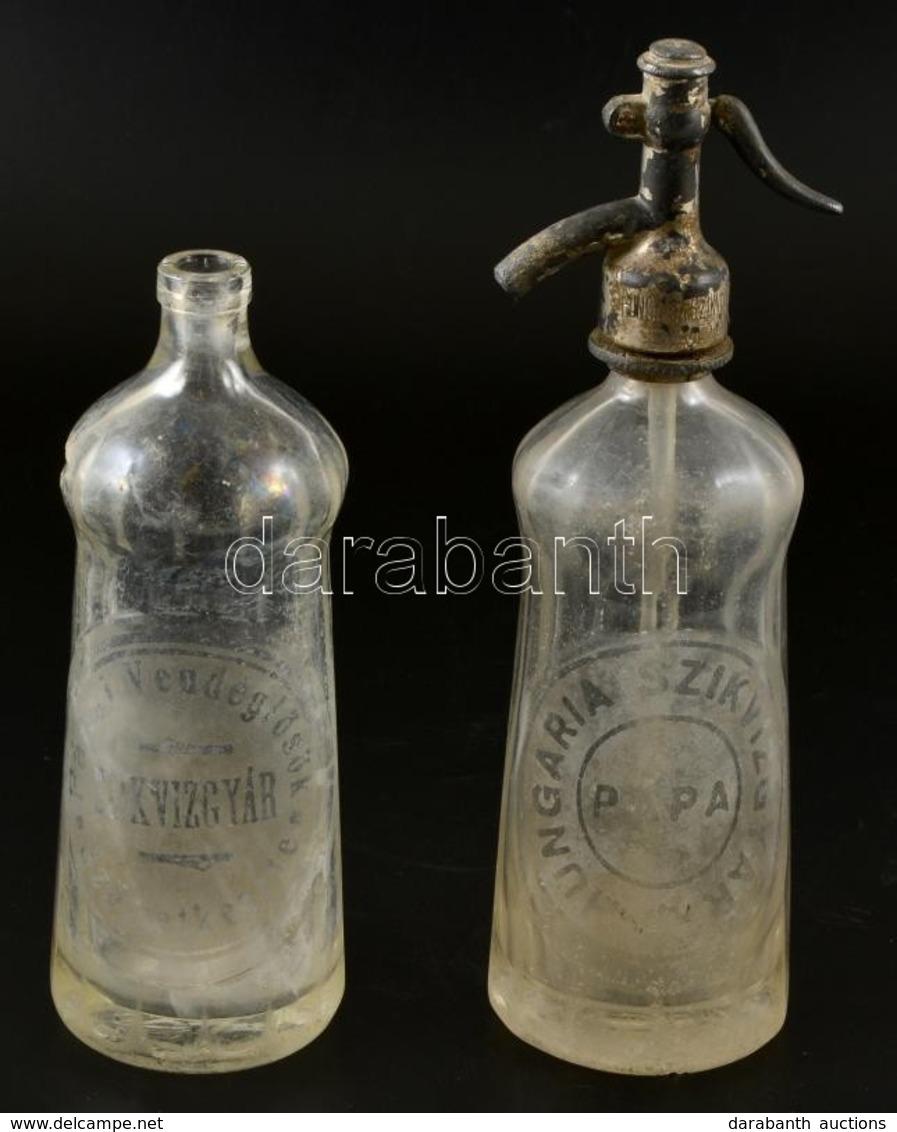 2 Db Szikvizes üveg, 'Pápai Vendéglősök Szövetkezete Szikvízgyár' Illetve 'Hungária Hungária Szikvízgyár, Pápa' Feliratt - Glass & Crystal