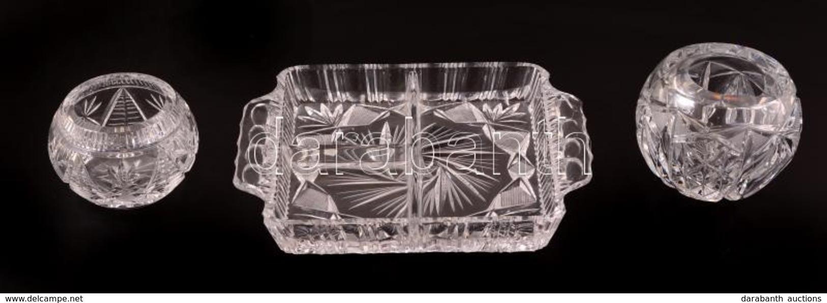 Ólomkristály Hamuzó, Kínálótál és Mécsestartó, Csiszolt, Csorba Nélkül, M: 6 és 7,5 Cm, 21×17 Cm - Glass & Crystal