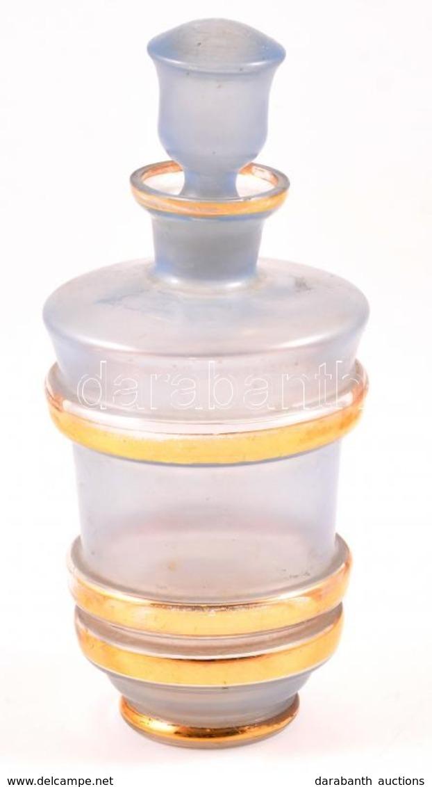 Aranyozott Kék üveg Kiöntő, Apró Csorbával, M: 21,5 Cm - Glass & Crystal