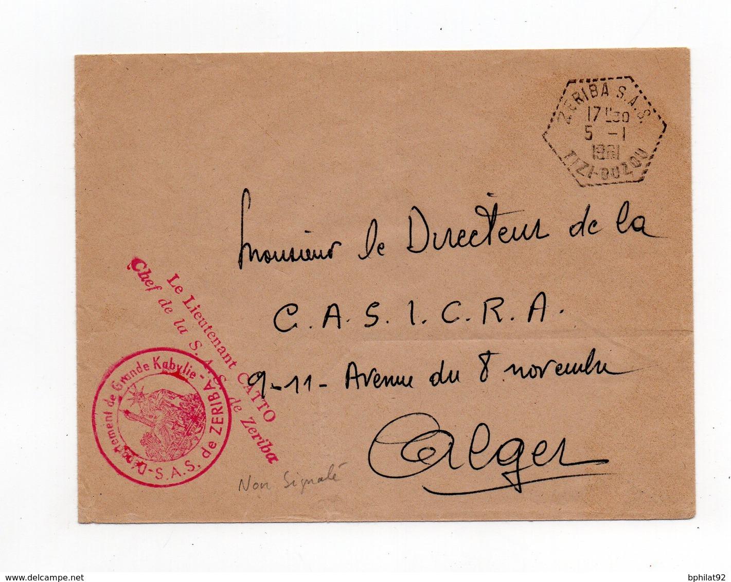 !!! PRIX FIXE : ALGERIE, LETTRE EN FRANCHISE DU 5/1/1961, CACHET ZERIBA SAS. NON SIGNALE - Algeria (1924-1962)