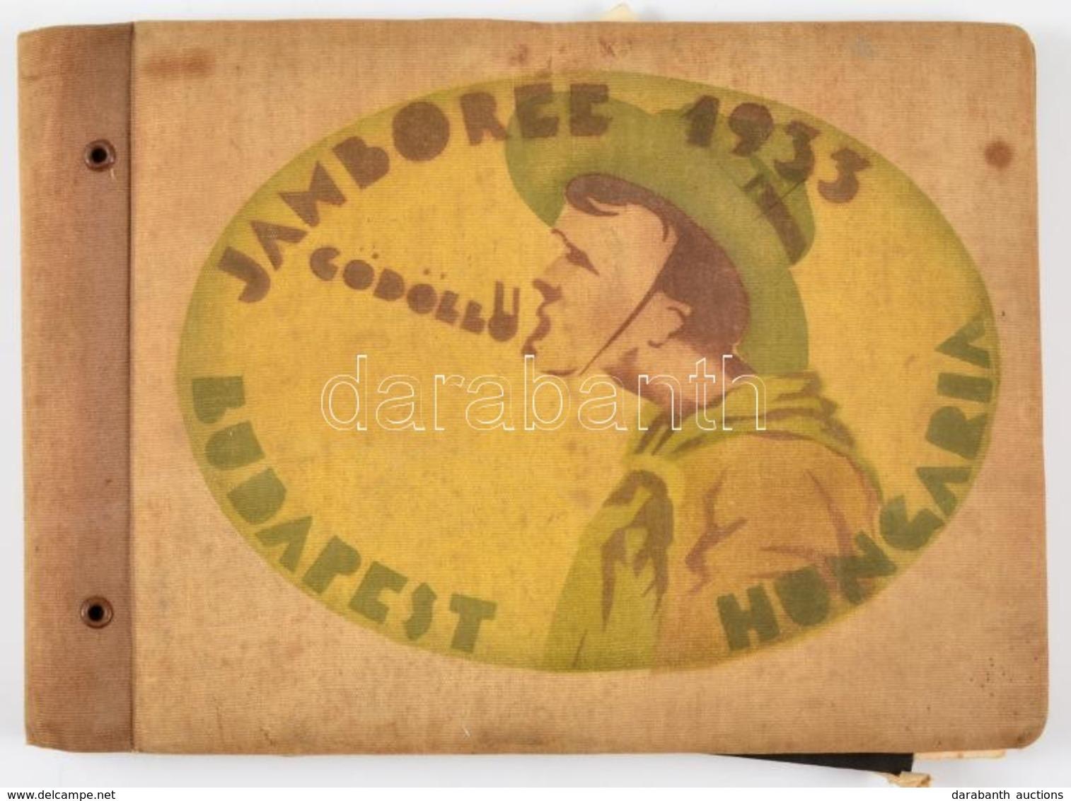 1933  Cserkész Gyűjtemény: Gödöllő Jamboree Budapest Hungária Feliratú Szövet Mappa, Benne Számos Cserkész Meghívóval, C - Scouting