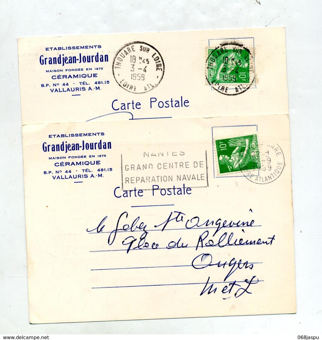 Carte Cachet Thouare Flamme Nantes Reparation Navale Sur Moisson - Postmark Collection (Covers)