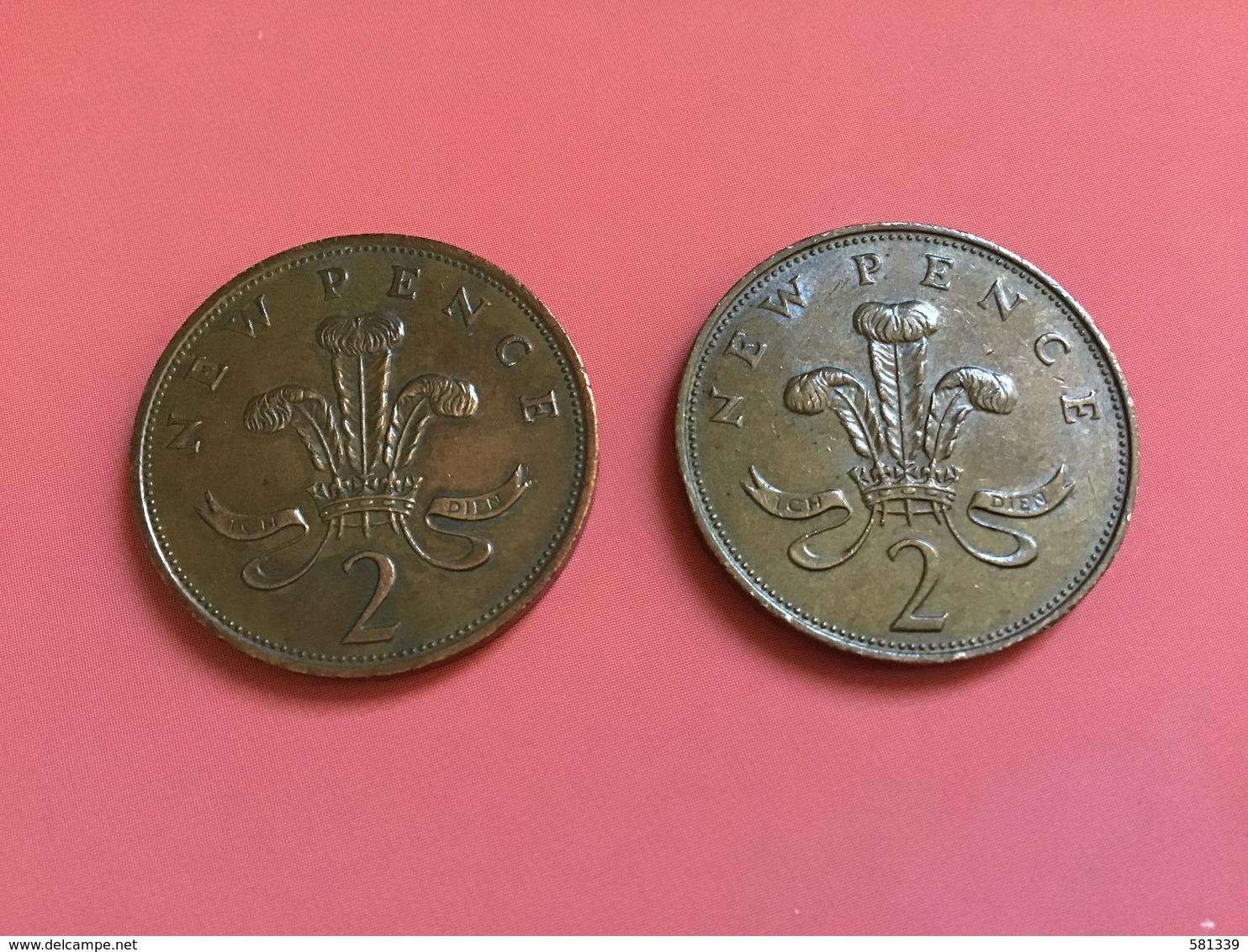 INGHILTERRA - ENGLAND  - 1971 - 1981 - 2 Monete Da  2 NEW PENCE - 1971-… : Monete Decimali