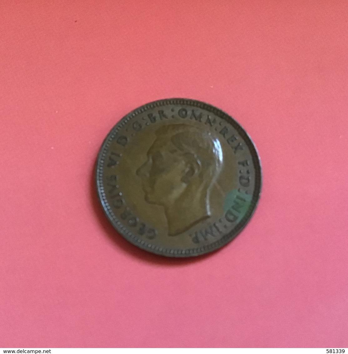 INGHILTERRA - ENGLAND - 1942 - Moneta  FARTHING Giorgio VI - 1902-1971 : Monete Post-Vittoriane