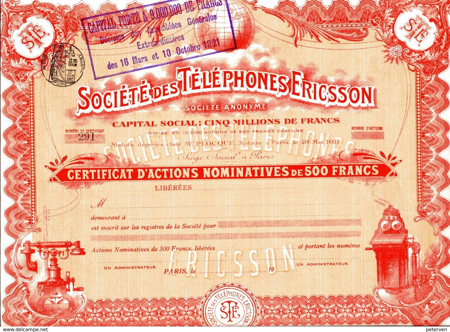 Société Des TÉLÉPHONES ERICSSON - Electricité & Gaz