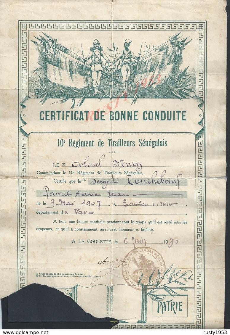 MILITARIA CERTIFICAT DE BONNE CONDUITE ILLUSTRÉE MILITAIRE 10e Reg TIRAILLEURS SÉNÉGALAIS  LA GOULETTE TUNISIE 1930 : - Documents