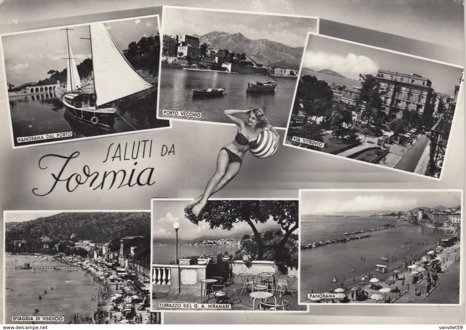 FORMIA-LATINA-SALUTI DA-MULTIVEDUTE CON PIN-UP(6 IMMAGINI)VERA FOTOGRAFIA-VIAGGIATA NEL 1958 - Latina