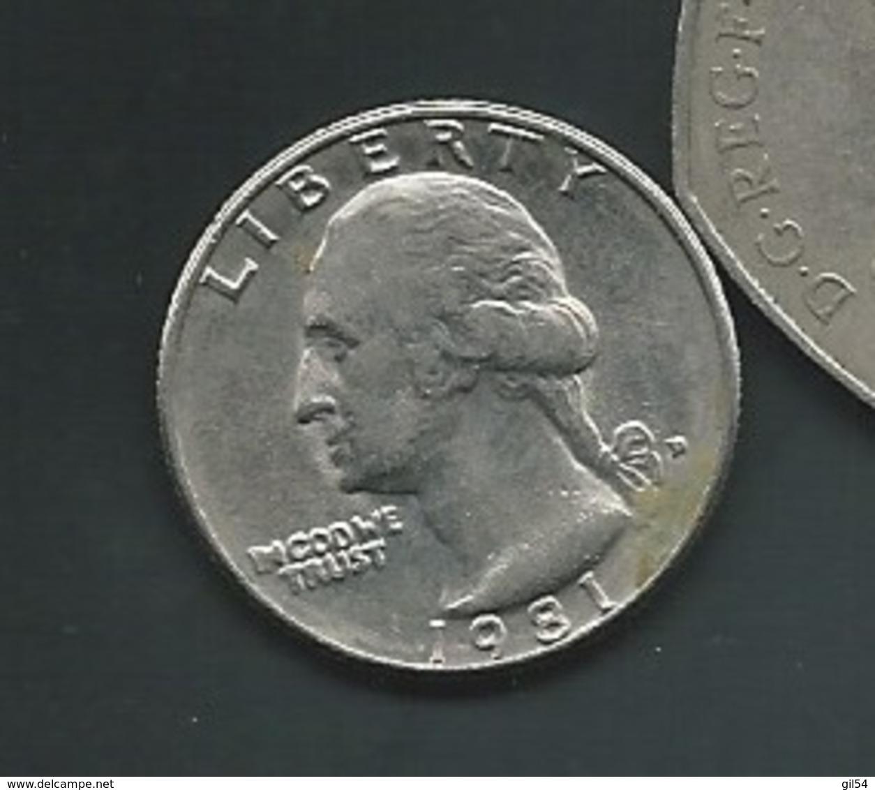 ETATS UNIS : QUARTER DOLLAR 1981  Pia 21201 - Federal Issues