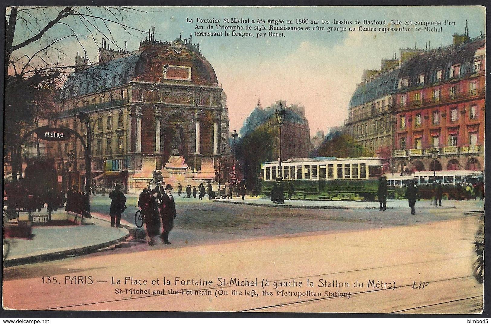 CPA-FRANCE-Paris -La Place Et La Fontaine St-Michel-a Gauche La Station Du Metro-- Belles Couleurs - Transport Urbain En Surface