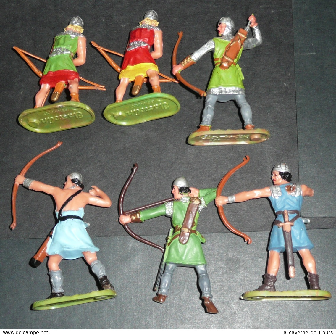 Rare Lot Soldats Plastique ELASTOLIN Germany Moyen-âge Archers En Boite OUGEN Archer - Militaires