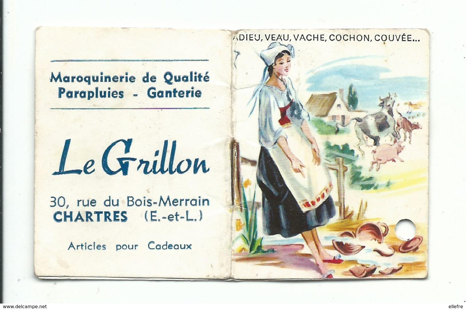 Calendrier Petit Agenda 1969 La Fontaine Pierrette Et Le Pot Au Lait  Chartres  ( Trou Rond ) Sur Les 5 1ère Page - Calendriers
