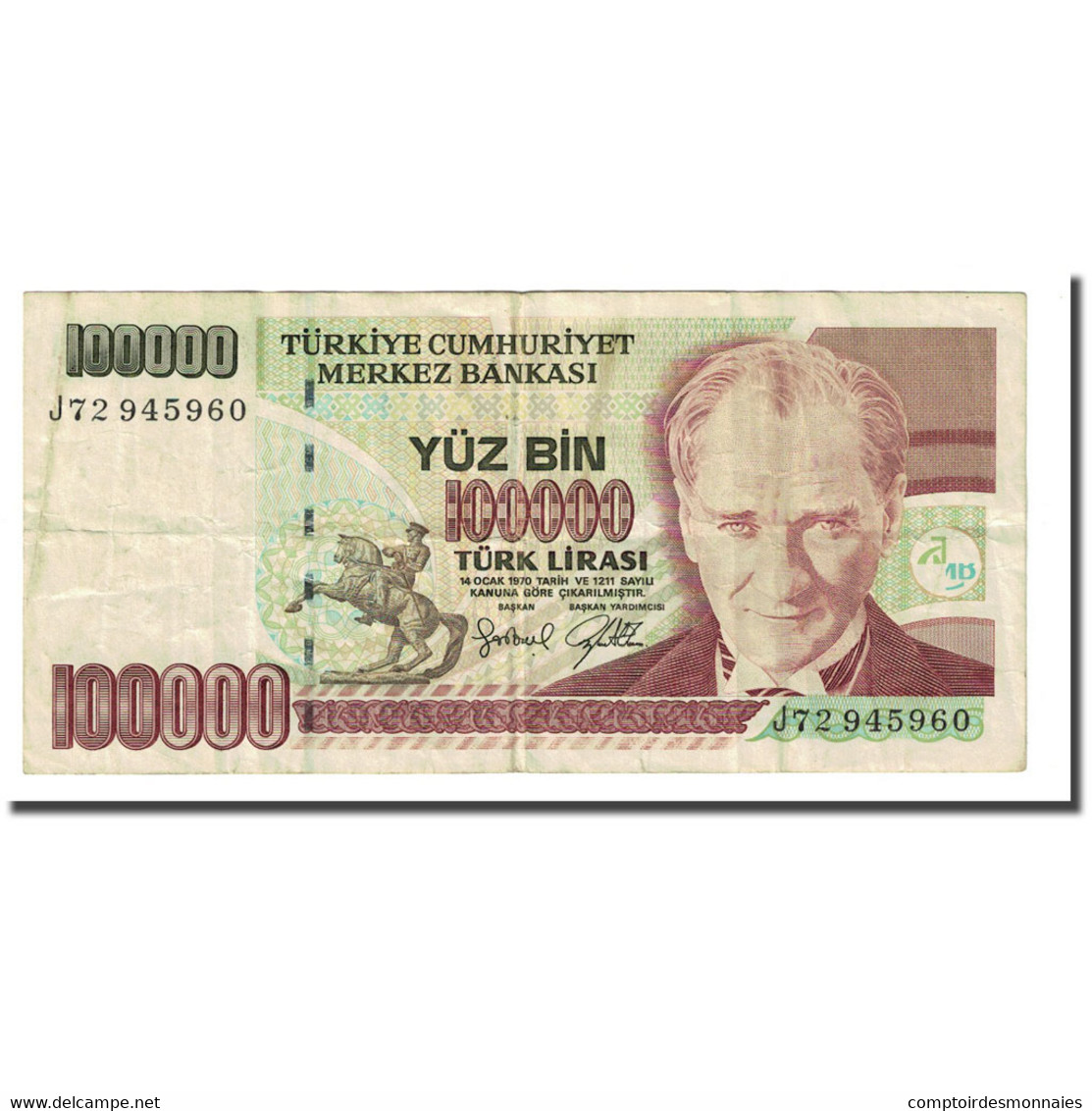 Billet, Turquie, 100,000 Lira, L.1970, KM:206, TB - Turquie