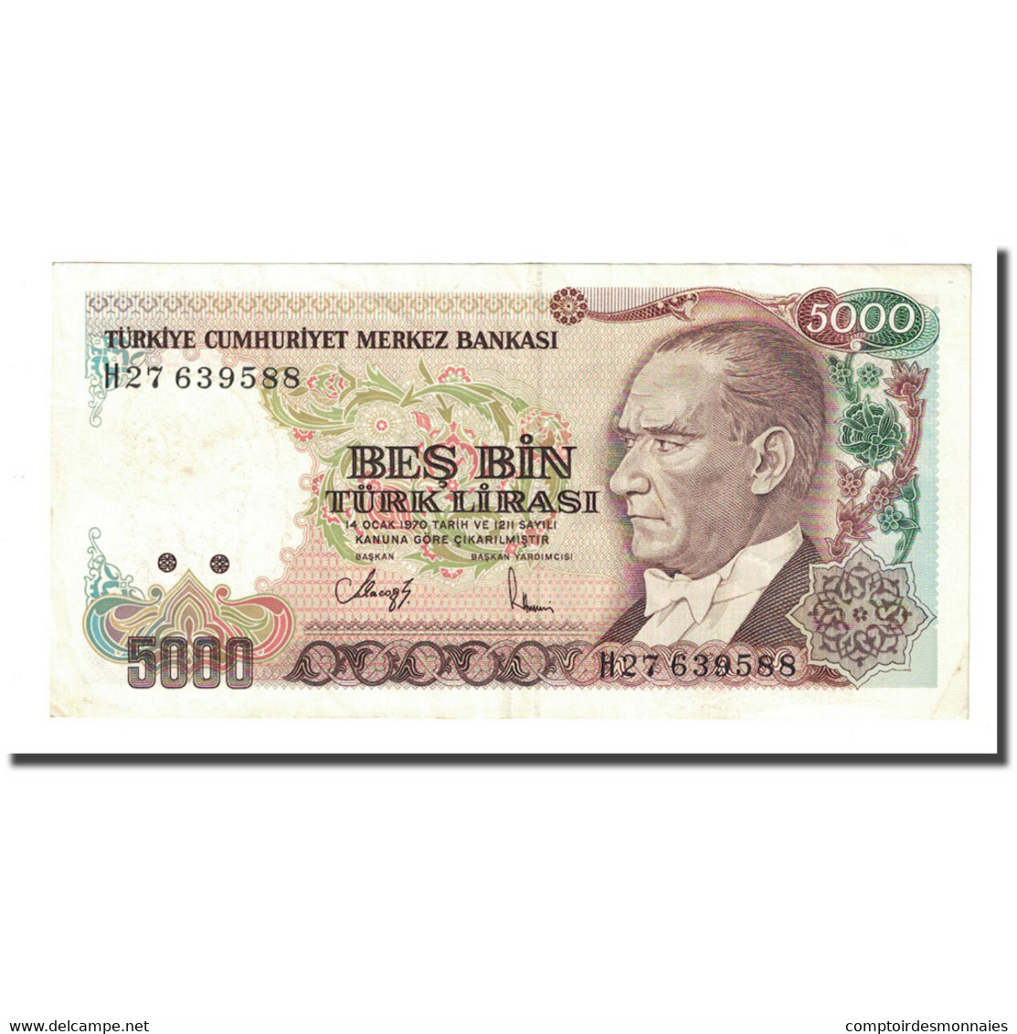 Billet, Turquie, 5000 Lira, L.1970, KM:198, SUP - Turquie