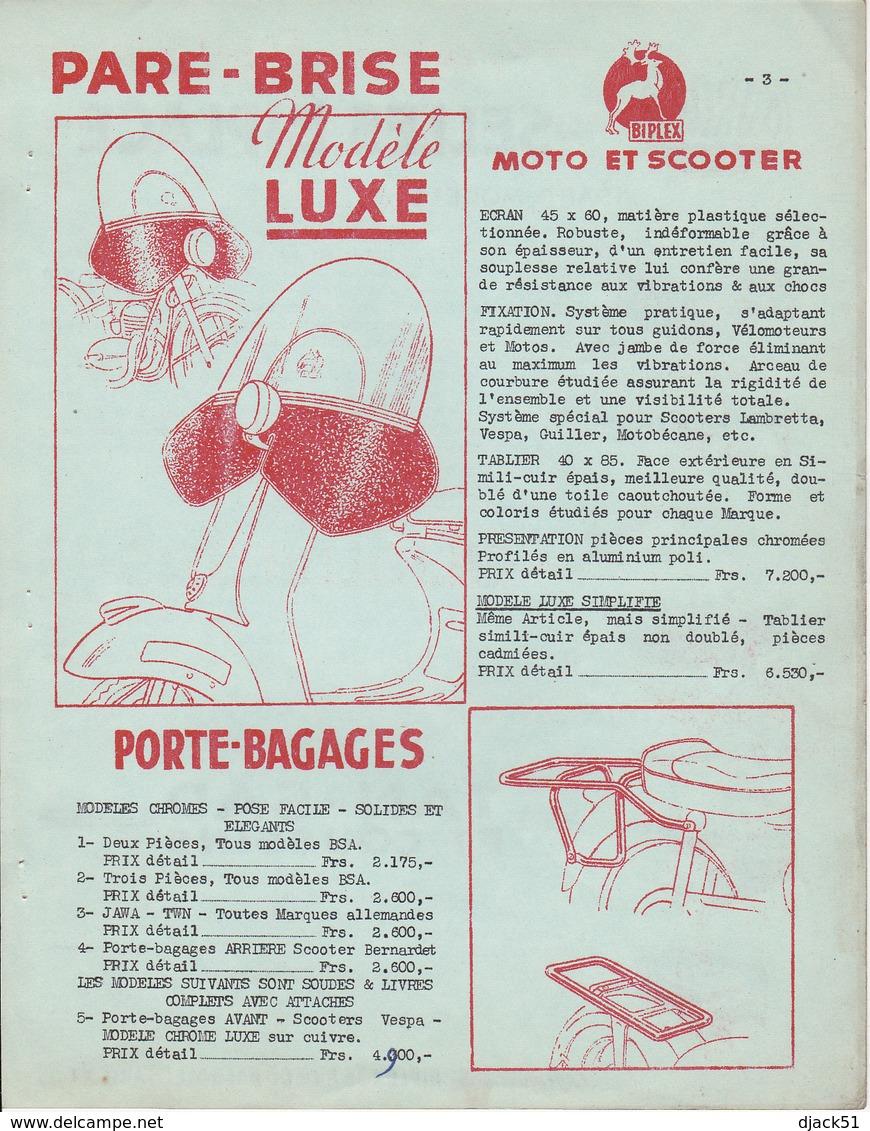 Anciens Tarifs BIPLEX / Accessoires Vélomoteurs & Motos / 6 Pages 21 Cm X 27 Cm - Motos