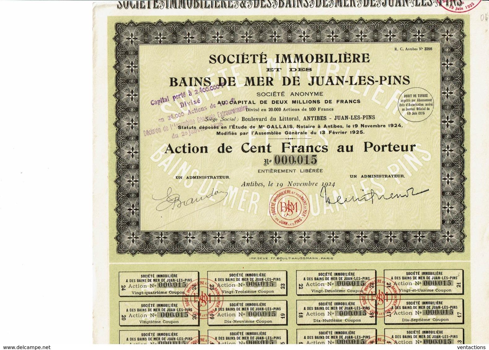 06-IMMOBILIERE ET DES BAINS DE MER DE JUAN-LES-PINS. Action 1924 - Shareholdings