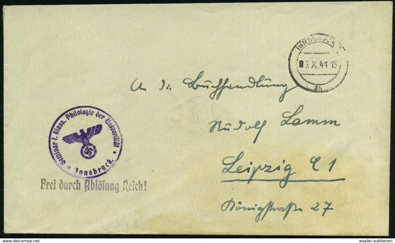 INNSBRUCK/ 3b 1941 (6.X.) 2K-Steg Mit Römischer Monatsziffer ! + HdN: Seminar F. Klass. Philologie D.Universität + 1L: F - Languages