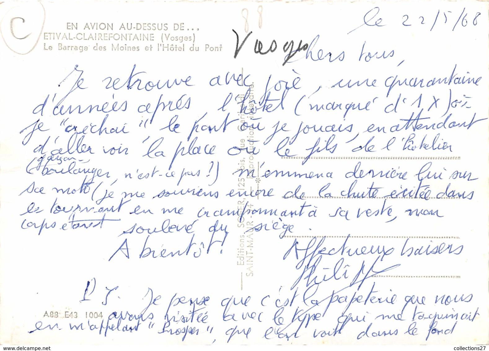 88-ESTIVAL-CLAIREFONTAINE- LE BARRAGE DES MOINES ET L'HÔTEL DU PONT VUE DU CIEL - Etival Clairefontaine