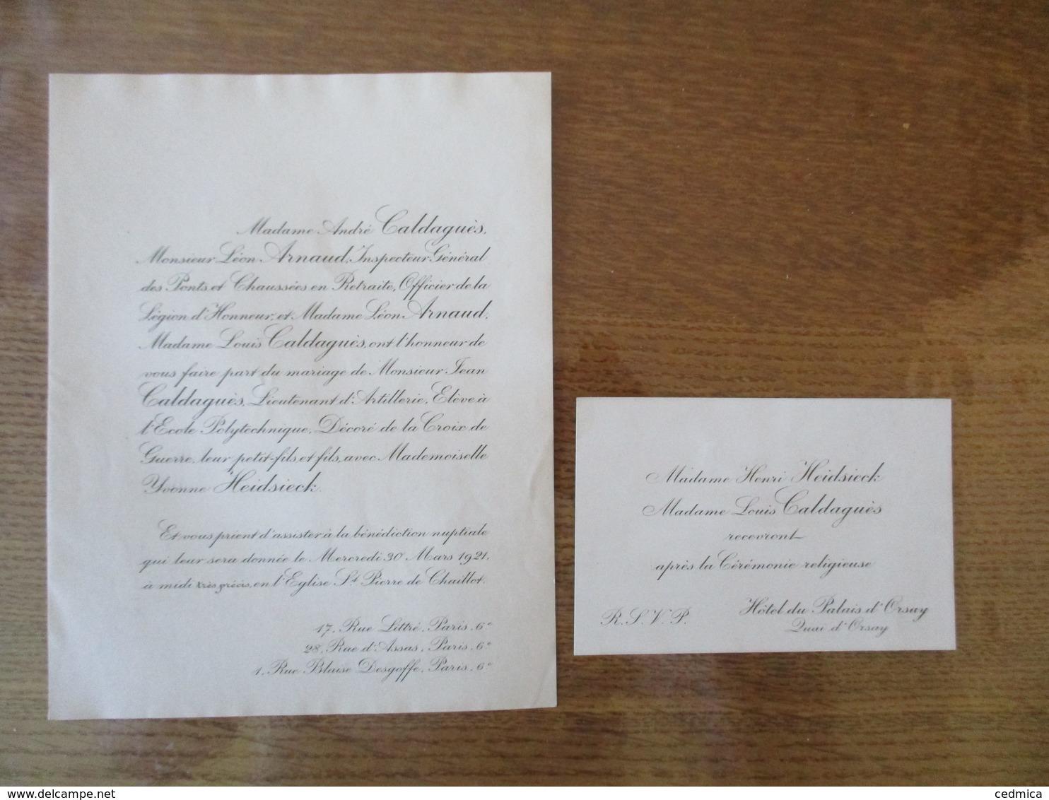 PARIS LE 20 MARS 1921 MADEMOISELLE YVONNE HEIDSIECK AVEC MONSIEUR JEAN CALDAGUES LIEUTENANT D'ARTILLERIE - Mariage