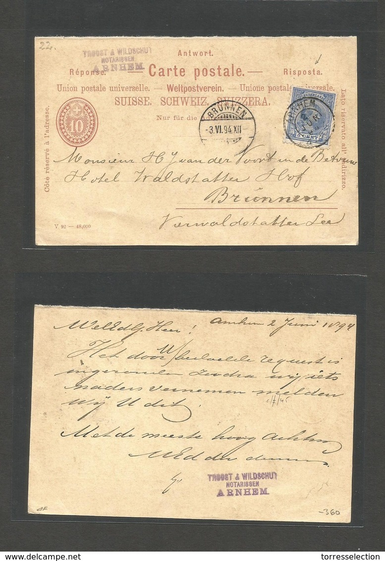 Switzerland - Stationery. 1894 (2 June) REPLY HALF. Netherlands, Arthem - Brünnen (3 June) 10c Red Reply Half Stationary - Switzerland
