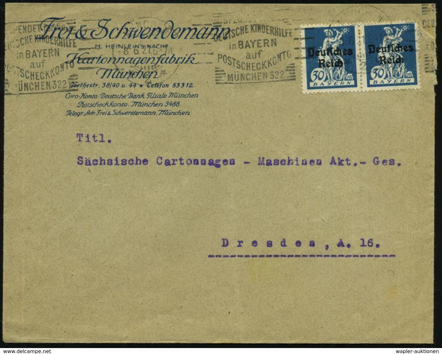 MÜNCHEN/ *2*/ SPENDET Für Die/ DEUTSCHE KINDERHILFE/ In BAYERN/ Auf/ POSTSCHECKKONTO.. 1921 (8.6.) Seltener BdMWSt (teil - UNICEF