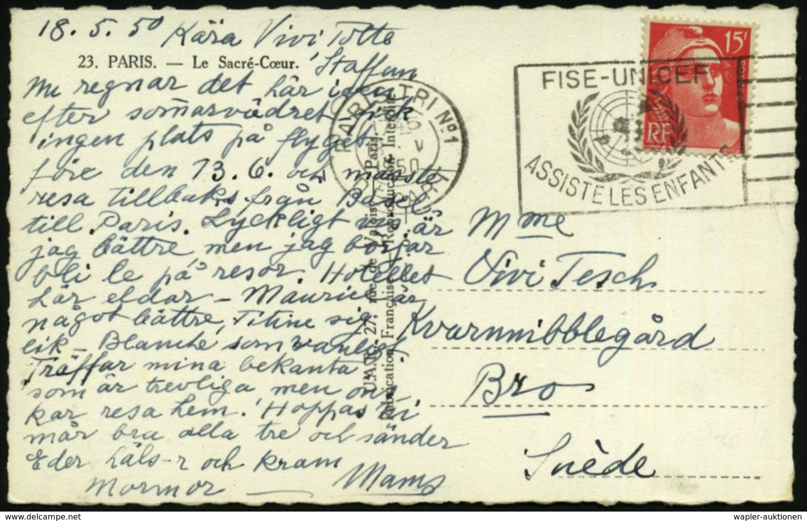 FRANKREICH 1950 (Mai) MWSt: PARIS TRI No.1/DEPART/FISE-UNICEF/ASSISTE LES ENFANTS (UN-Logo) Klar Auf Ausl.-Ak.  - - UNICEF