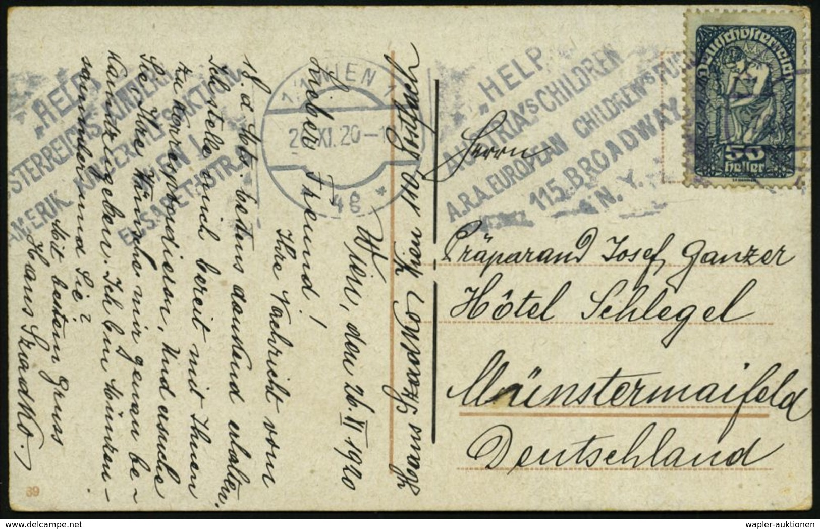 ÖSTERREICH 1920 (Dez.) BdMWSt: 1-1 WIEN 1/*4g*/HELP/AUSTRIA's CHILDREN/A.R.A. EUROPEAN CHILDREN FUND.. (Text Zweisprachi - UNICEF