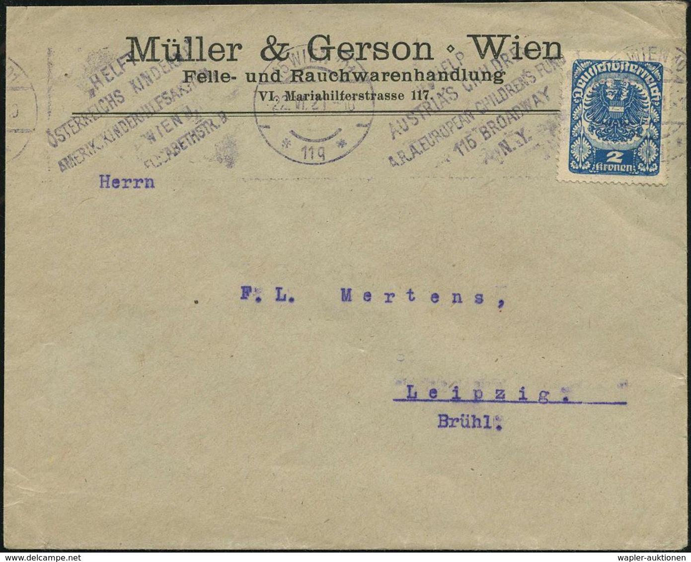 ÖSTERREICH 1921 (Juni) BdMWSt: 15 WIEN 101/*11q*/HELP/AUSTRIA's CHILDREN/A.R.A. EUROPEAN CHILDREN FUND.. (Text Zweisprac - UNICEF
